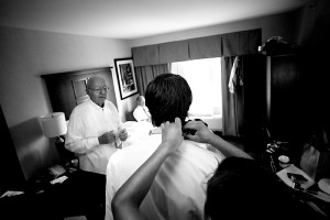Groom Getting Ready at hotel