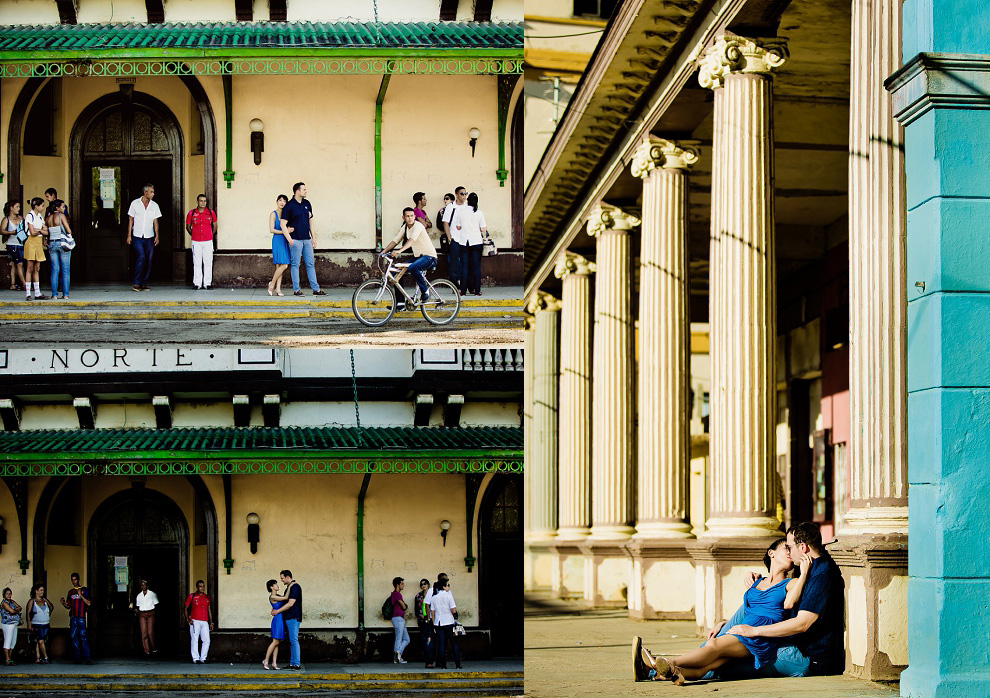 cuba city of Moron engagement session at railway station