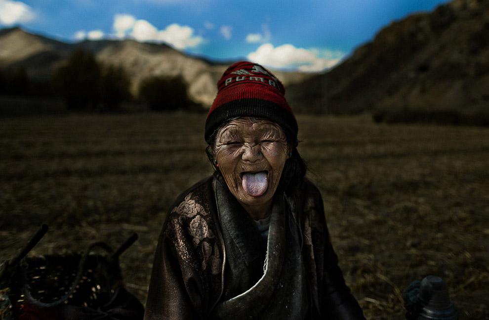 portrait of shepherdess in Tibet