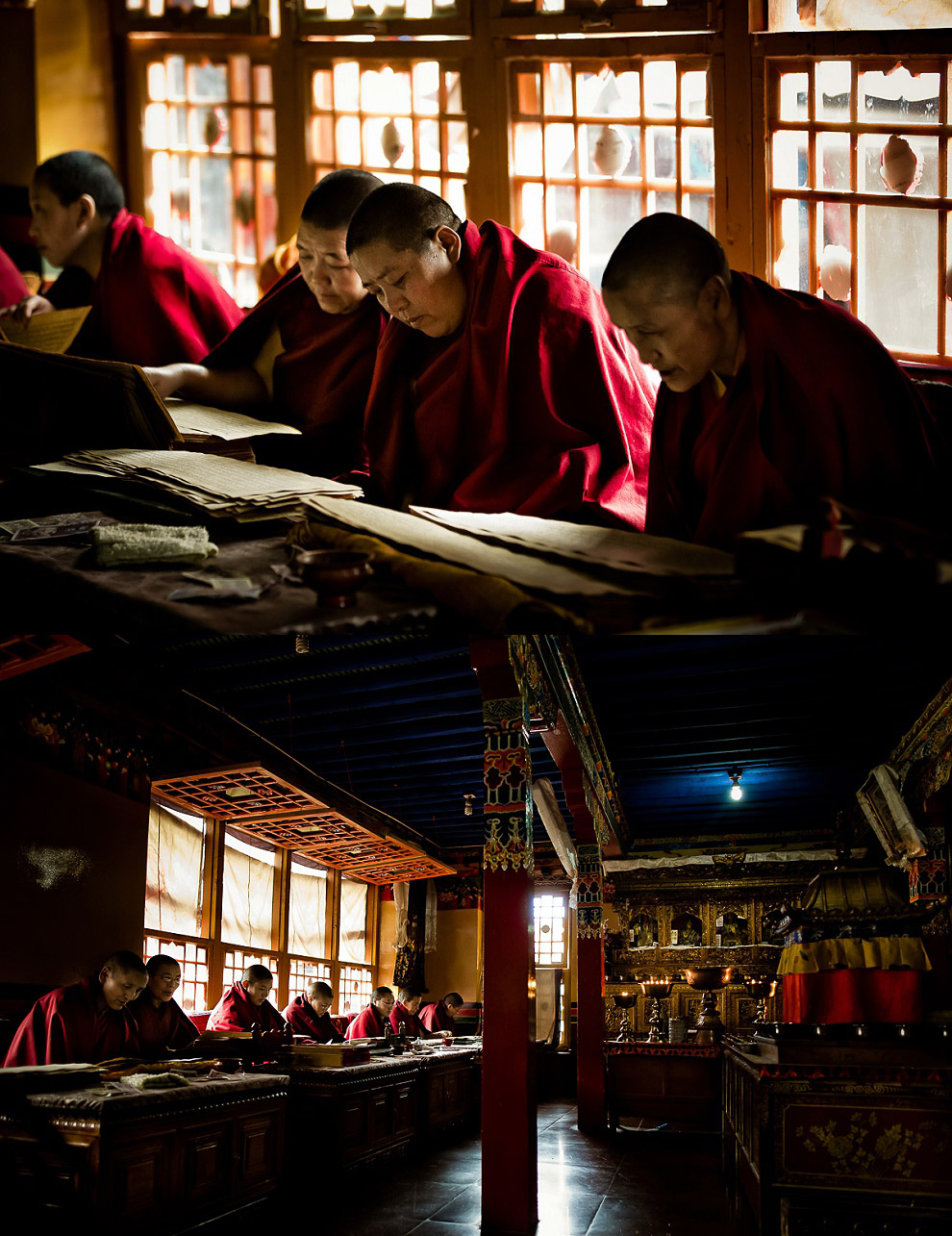 monks reading ancient scrolls and books in library