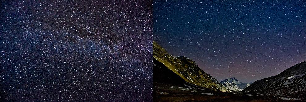 mount everest at night in Tibet