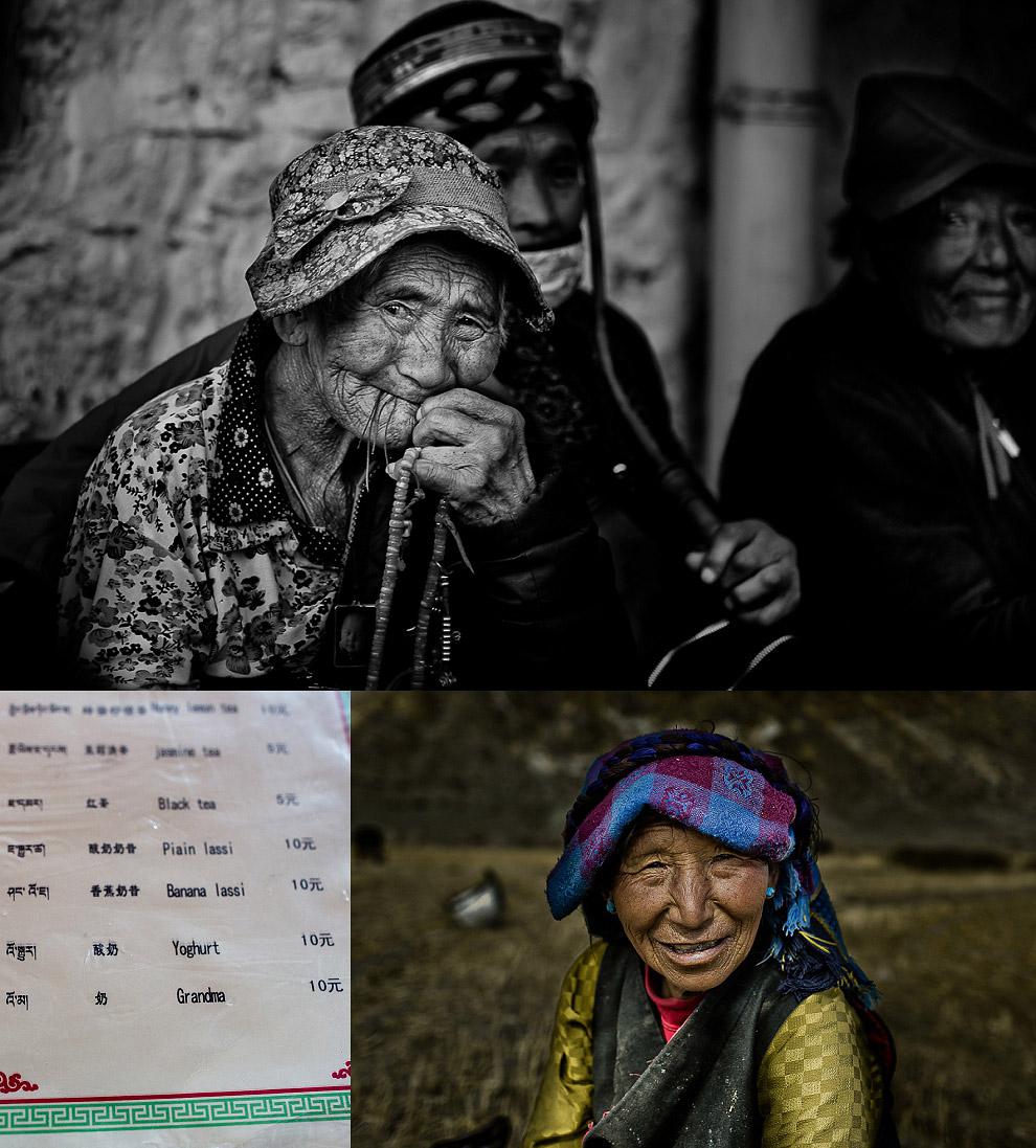 wrinkly old people in Tibet