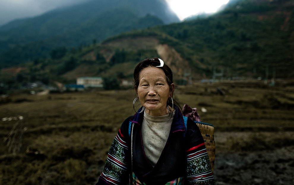 portrait of hill tribe lady in vietnam