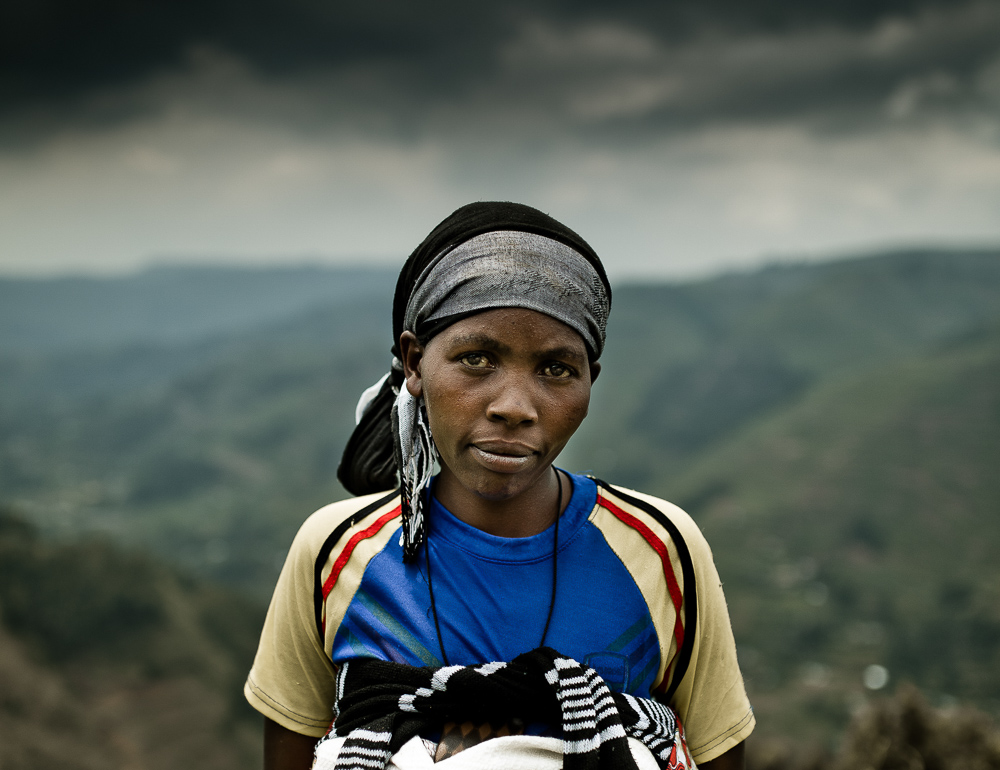 Portrait of a women working on her farm in Uganda