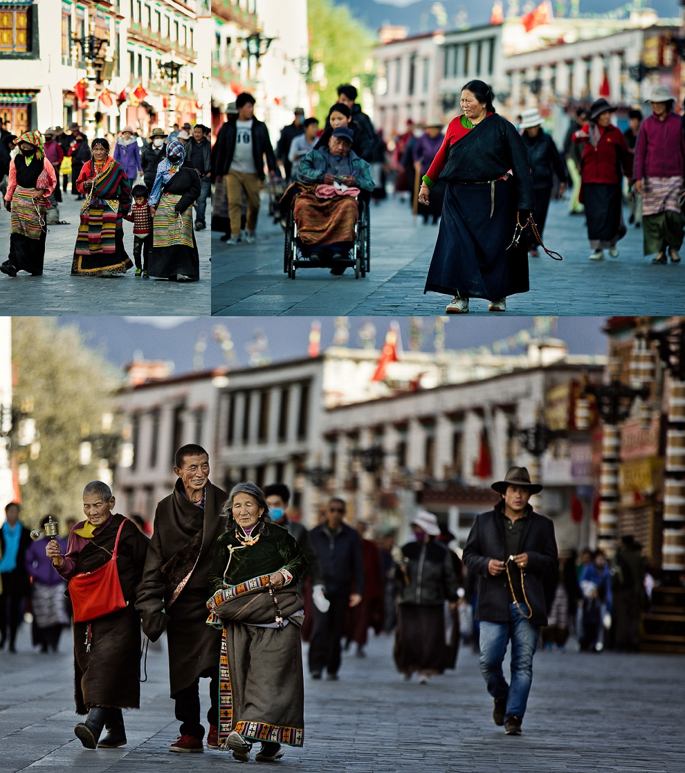 pilgrims in Lhasa Tibet go around Jokhang Temple in circles