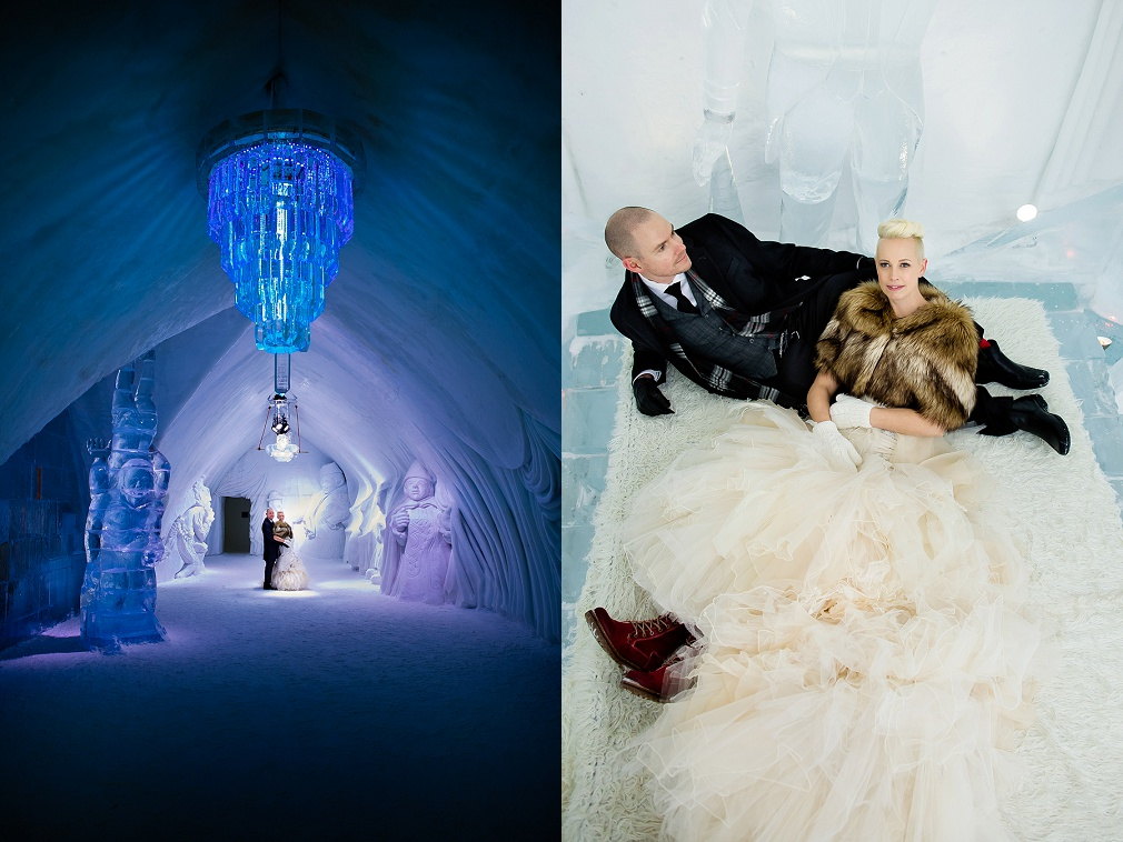 ice hotel wedding photographers canada